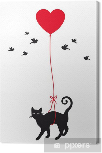 cat with heart balloon, vector Canvas Print - Lifestyle