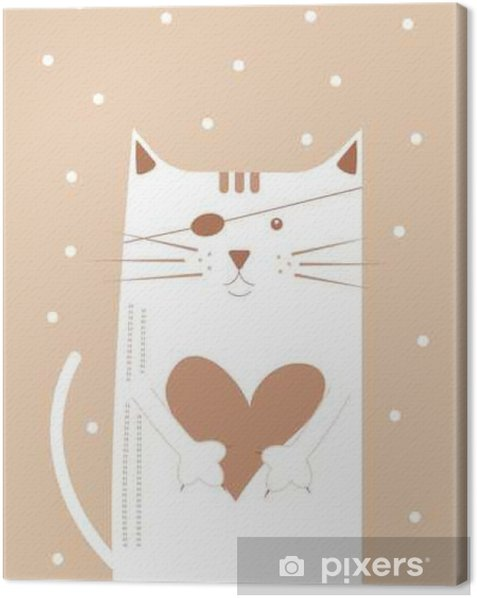 Cat with heart Canvas Print - Animals