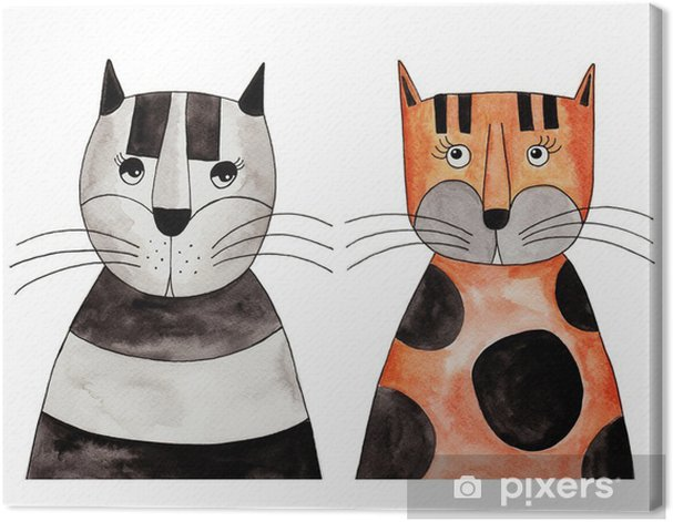 Cats. Artwork, ink and watercolors on paper Canvas Print - Other Other