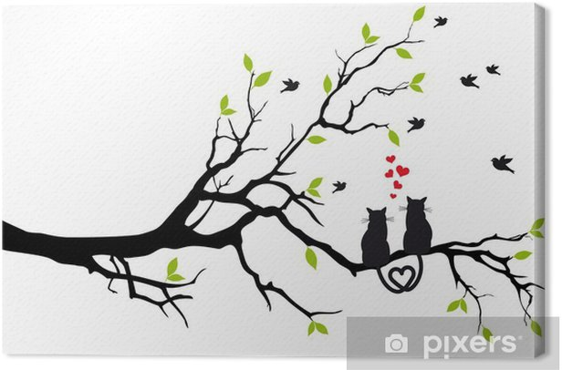 cats in love on tree branch, vector Canvas Print - Destinations
