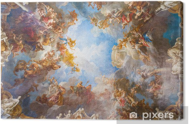 Ceiling painting of Palace Versailles near Paris, France Canvas Print - Monuments