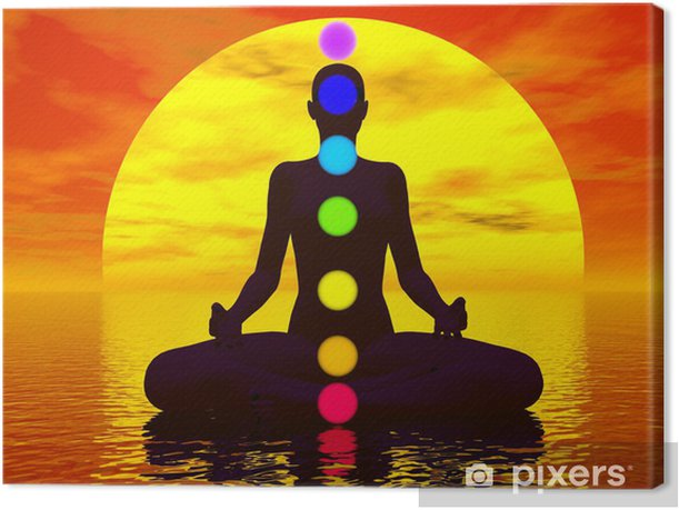 Chakras at sunset - 3D render Canvas Print - Themes
