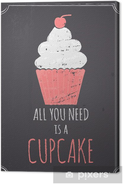 Chalkboard Cupcake Design Canvas Print - Sweets and Desserts