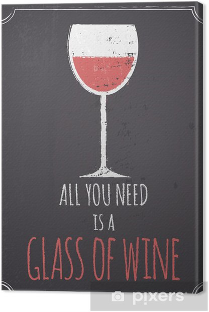 Chalkboard Red Wine Design Canvas Print - Styles