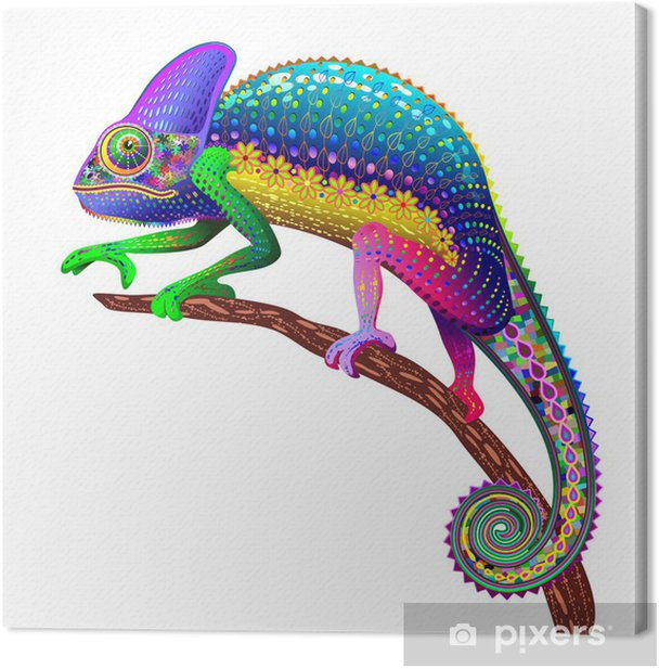 Chameleon Fantasy Rainbow Colors Canvas Print - Wall decals