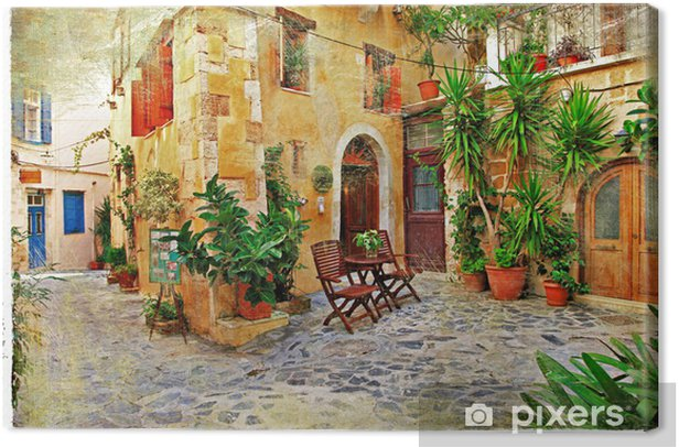 Chania,Crete- old charming streets Canvas Print - Themes