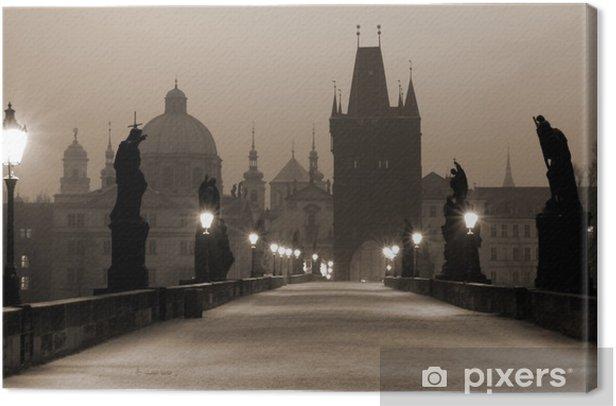 charles bridge, (sepia) prague Canvas Print - Prague