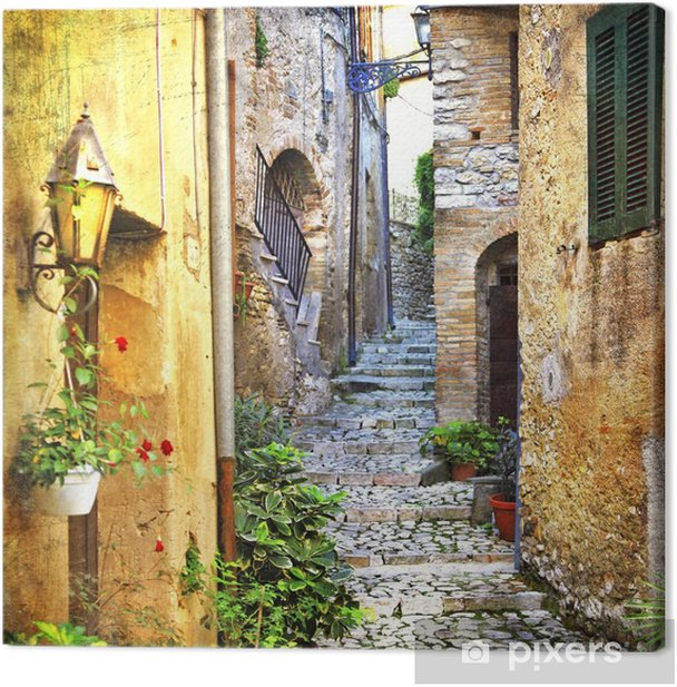 charming old streets of mediterranean Canvas Print - Themes