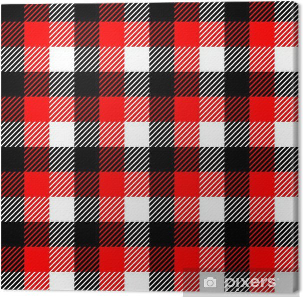 Checkered Gingham Fabric Seamless Pattern In Black White Red Canvas