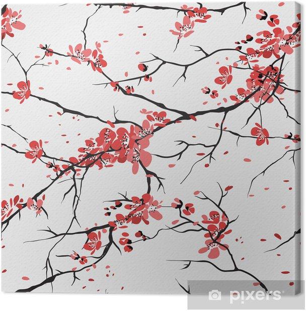 cherry or sakura seamless pattern background Canvas Print - Styles