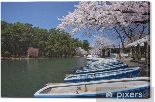 Cherry tree and pond Canvas Print - Seasons
