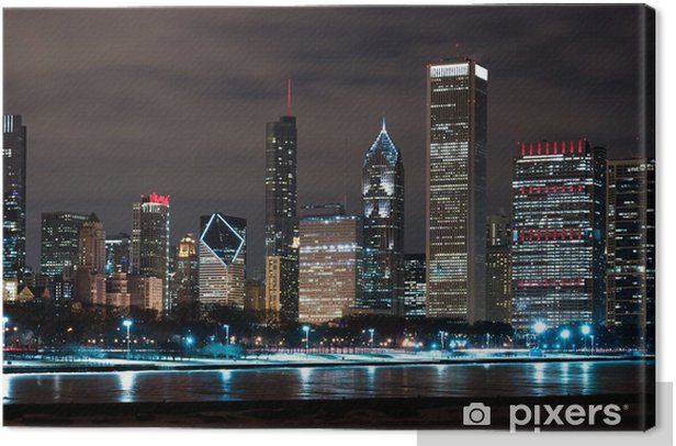 Chicago Night Skyline Canvas Print - Themes