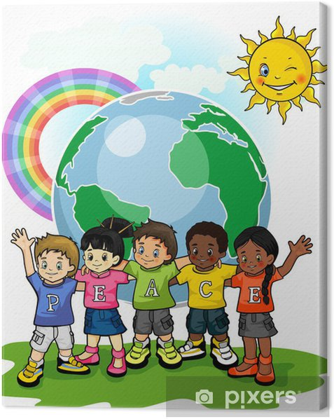 Children united world of peace Canvas Print - Criteo