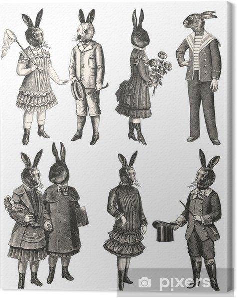 Children with animal head Canvas Print - Children