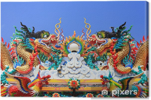 Chinese dragon statue on roof Chinese temple Canvas Print