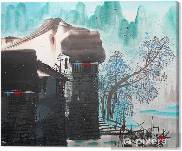 Chinese drawing water town Canvas Print - Landscapes