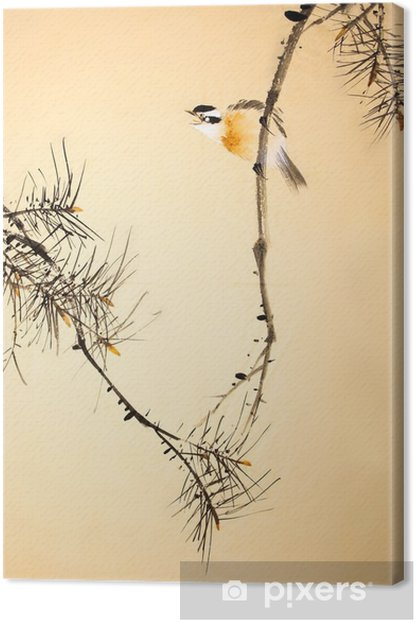 Chinese ink painting bird and plant Canvas Print - Animals