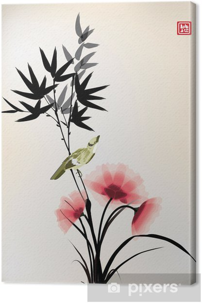 Chinese ink style flower bird drawing Canvas Print - Criteo