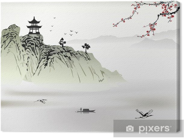 Chinese landscape painting Canvas Print - Mountains