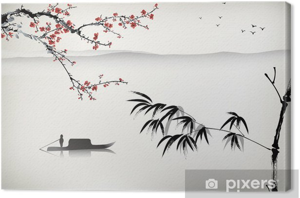 Chinese landscape painting Canvas Print - Themes