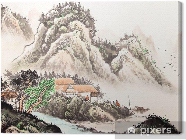 Chinese landscape watercolor painting Canvas Print - Landscapes