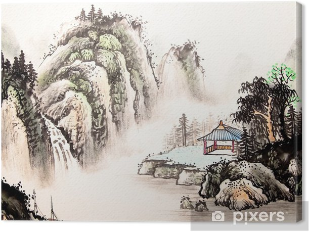 Chinese landscape watercolor painting Canvas Print - Landscapes