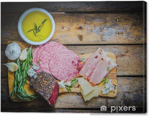 Chopping board of Assorted Cured Meats, Cheese and Honey with ro Canvas Print - Themes