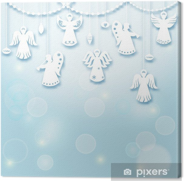 Angels Christmas Background.Christmas Background Angels Paper Cut Style In Vector Canvas Print
