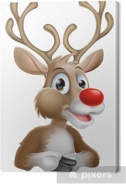 Christmas Cartoon Reindeer Canvas Print