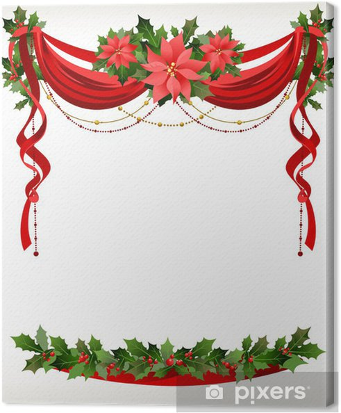 Christmas Frame.Christmas Frame With Pointsettia Canvas Print