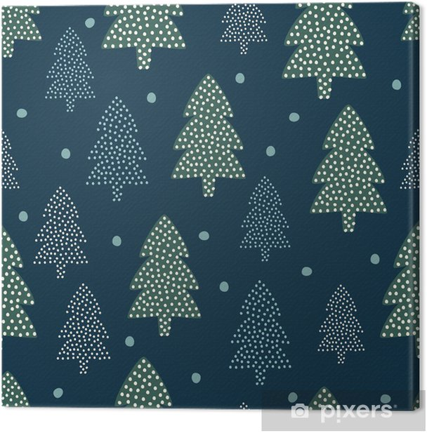 Christmas pattern - Xmas trees and snow. Happy New Year nature seamless  background. Forest design for winter holidays. Vector winter holidays print