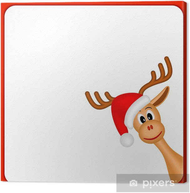 Christmas Reindeer In Empty Frame With Red Border Canvas