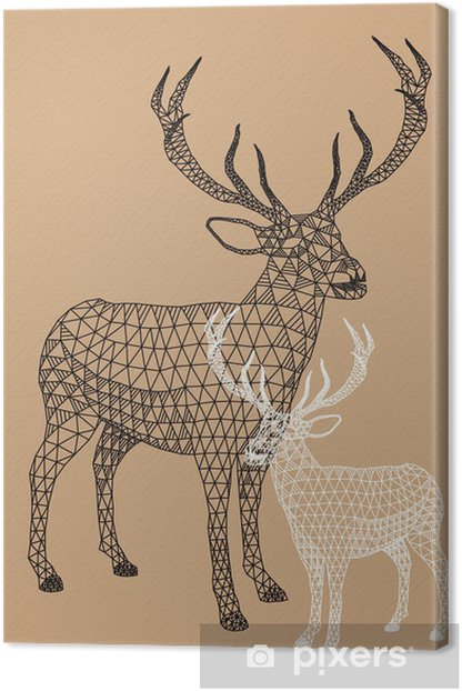 Christmas reindeer with geometric pattern, vector Canvas Print - Lifestyle