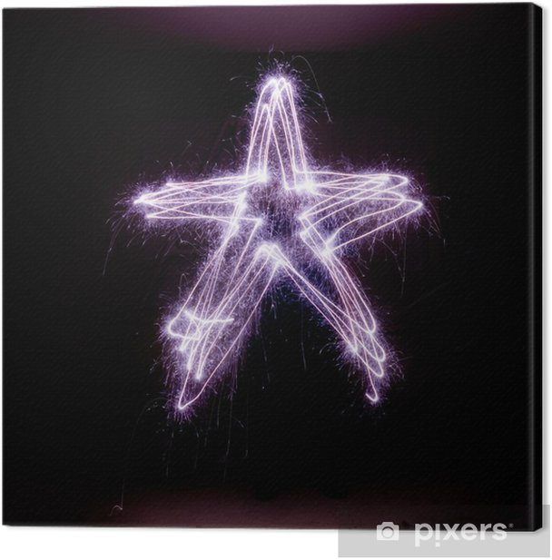 Christmas star made from sparklers. Canvas Print - International Celebrations