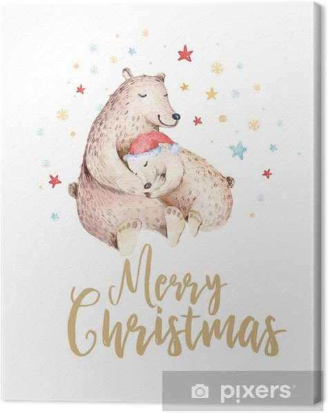 cute kids xmas forest bears animal illustration new year card or poster hand drawn nursery isolated baby animals painting canvas print