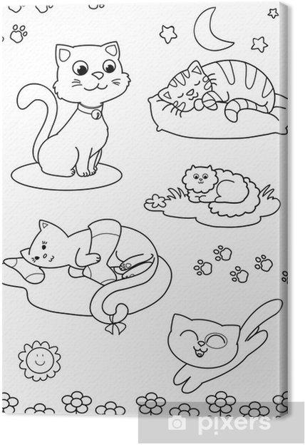 Cinque Gatti Carini Da Colorare Per Bambini Canvas Print