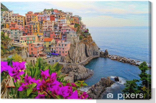 Cinque Terre coast of Italy with flowers Canvas Print - Themes