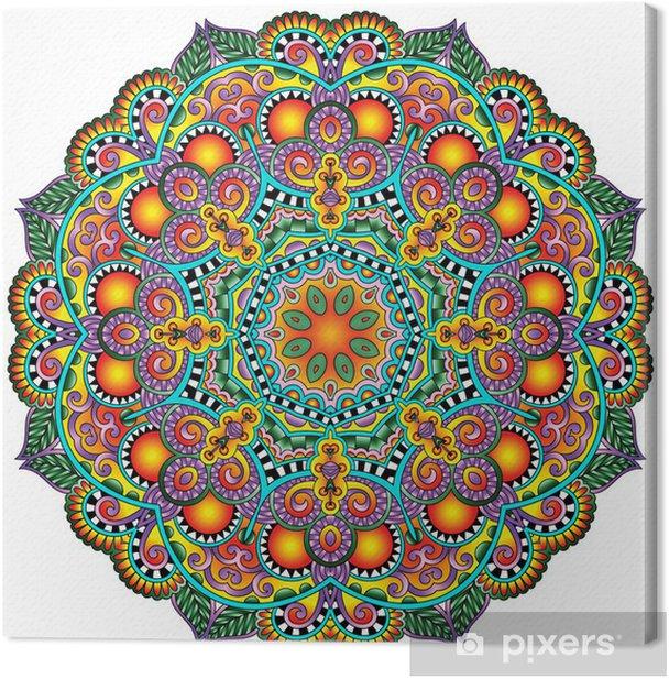 Circle lace ornament, round ornamental geometric doily pattern Canvas Print - Styles