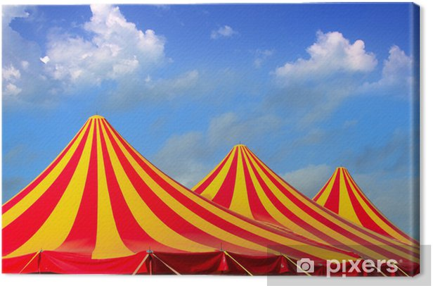 Circus tent red orange and yellow stripped pattern Canvas Print - Entertainment