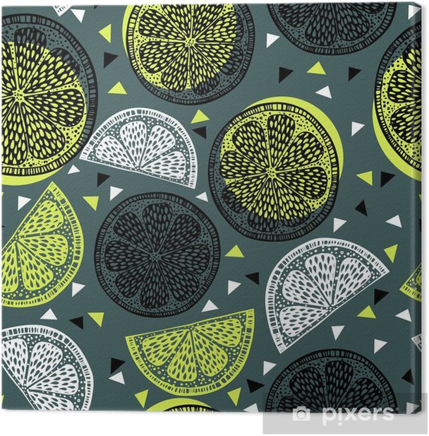 Citrus pattern graphics Canvas Print - Food