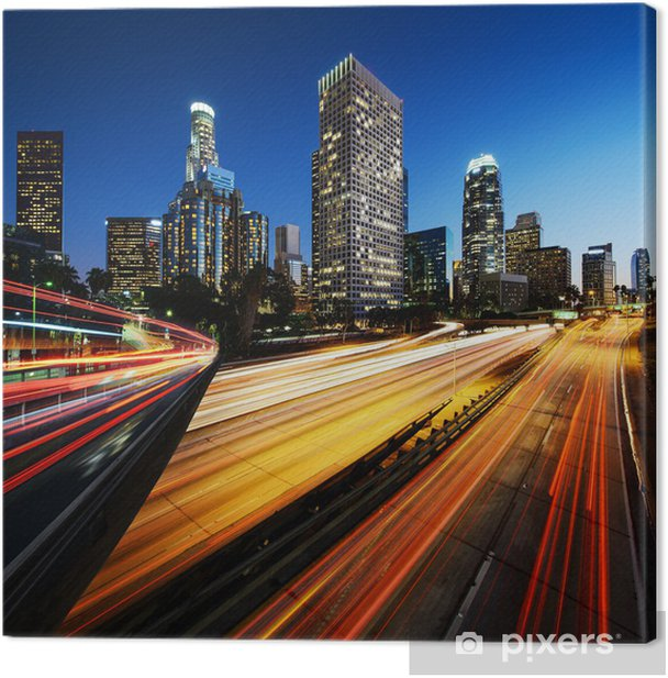 City of Los Angeles California at sunset with light trails Canvas Print - Themes