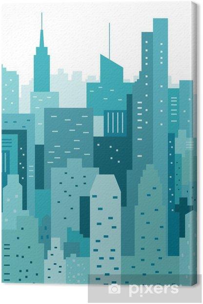 Cityscape geometric vector illustration. Cityline. City Landscape Canvas Print - Buildings and Architecture