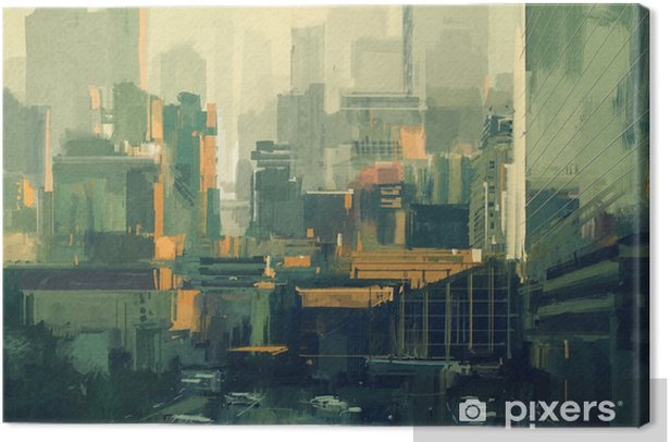 cityscape painting of urban sky-scrapers at sunset Canvas Print - Buildings and Architecture