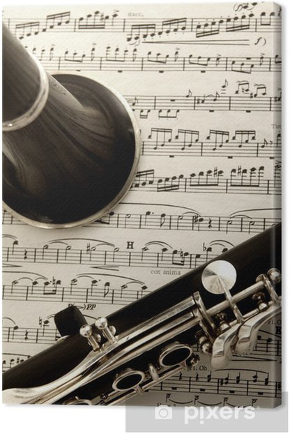 clarinet and sheet music Canvas Print - Music