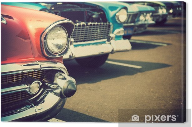 Classic cars in a row Canvas Print - Transport