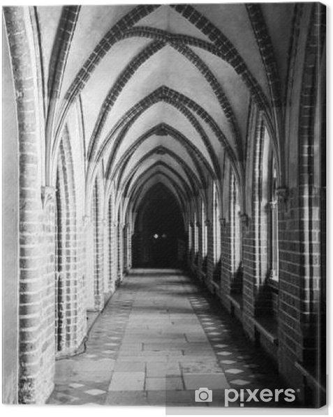Cloister with gothic rib vault ceiling Canvas Print - Buildings and Architecture