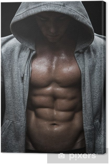 Close up of muscular sports man after weights training Canvas Print - Destinations