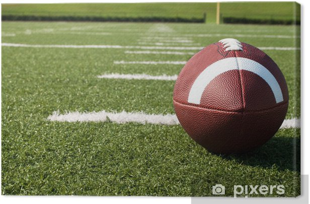Closeup of American Football on Field Canvas Print - American football