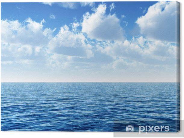 cloudy blue sky above a blue surface of the sea Canvas Print - Themes