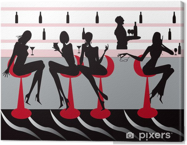 club bar restaurant coffee women Illustration vector Canvas Print - Shops